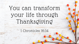 You Can Transform Your Life Through Thanksgiving