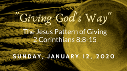 The Jesus Pattern of Giving