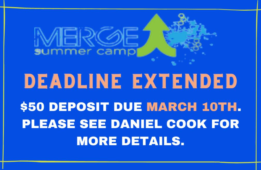 Merge Kids Camp Deposit Deadline